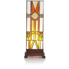"Stained Glass Mission Style Hurricane 14"" H Table Lamp with Rectangular Shade"