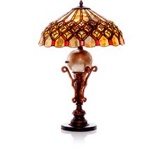 "Diamonds and Pearl Stained Glass 27"" H Table Lamp with Bowl Shade"