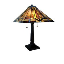 """Stained Glass Mission Style 24"""" H Table Lamp with Empire Shade"""