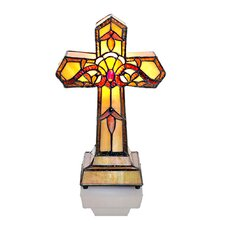 "Stained Glass Allistar Cross 13"" H Table Lamp with Novelty Shade"