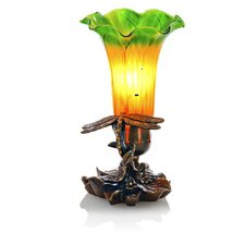 "Handblown Dragonfly Lily Accent 9"" H Table Lamp with Bell Shade"