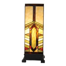 "Stained Glass Mission Style Stone Mountain Pillar 17.25"" H Table Lamp with Rectangular Shade"