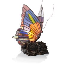 "Stained Glass Butterfly Accent 8.75"" H Table Lamp with Novelty Shade"