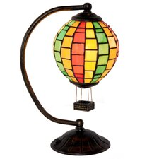 "Stained Glass Hot Air Balloon 14.5"" H Table Lamp with Sphere Shade"