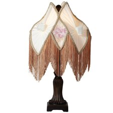 """Downton Abbey 23.5"""" H Pastel Floral Fringe Table Lamp with Novelty Shade"""