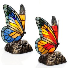 "Tiffany Butterfly Stained Glass Touch 8"" H Table Lamp with Novelty Shade (Set of 2)"