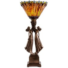 """Art Deco Table Top Torchiere 27"""" H Table Lamp with Novelty Shade"""