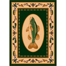 Fall Seasonal Green Fishtales Area Rug