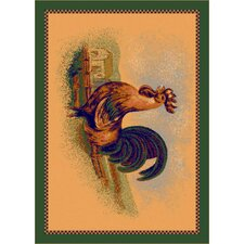 Fall Seasonal Tan Rise and Shine Rooster Area Rug