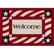Summer Patriotic Welcome America Door Mat