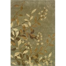 Silvana Floral Green/Tan Area Rug
