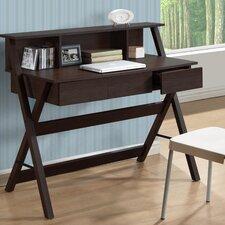 Folio Writing Desk with Low Profile Hutch