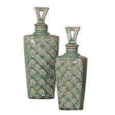 2 Piece Decorative Bottle Set