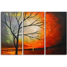 Tree in the Blazing Sun 3 Piece Painting Print on Canvas Set
