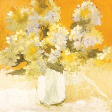 White Hydrangea Bouquet Painting Print on Wrapped Canvas