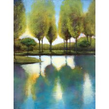 Trees In Reflection Painting Print on Wrapped Canvas