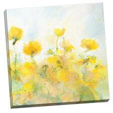 Yellow Flowers by Steve Kuzma Painting Print on Wrapped Canvas