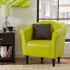Faux Leather Barrel Chair in Green