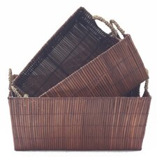 3 Piece Wood Storage Basket Set