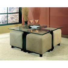 Hines Coffee Table and 4 Ottomans
