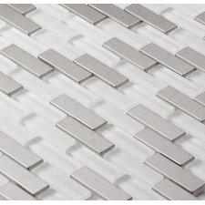 """Aria 2"""" x 1/2"""" Metal and Glass Mosaic Tile in Steel Ice"""