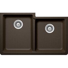 "Alive 33"" x 20.5"" Cristadur 60/40 Undermount Double Bowl Kitchen Sink"