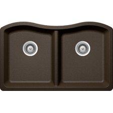"Ash 32.5"" x 20"" Cristadur 50/50 Undermount Double Bowl Kitchen Sink"