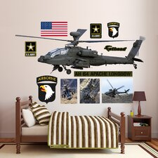 United States Army AH-64 Apache Longbow Helicopter Peel and Stick Wall Decal