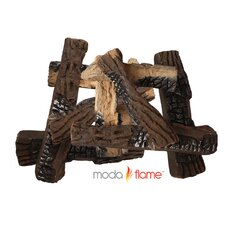 10 Piece Ceramic Fireplace Log Set