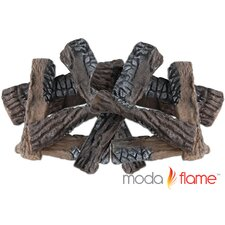 8 Piece Ceramic Fireplace Wood Log Set