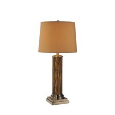 Broderick Table Lamp in Antique Brass and Walnut