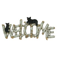 Birch/Bear Welcome Sign Wall Art in Brown