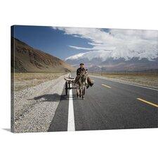 By Donkey on the Karakorum Highway Photographic Print on Canvas