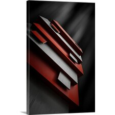 Red and White Graphic Art on Canvas