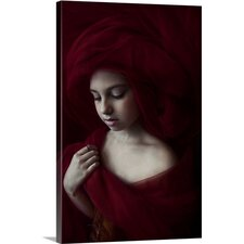 Girl In Red Tulle by Katherine Daykin Photographic Print on Canvas
