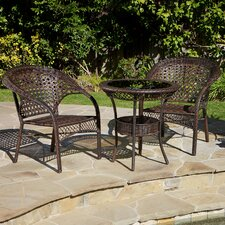 Cristiano 3 Piece Wicker Bistro Set