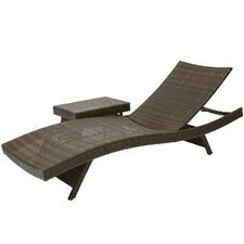 Armando 3 Piece Adjustable Lounge & Wicker Table Set