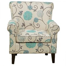 Flowered Upholstered Club Chair