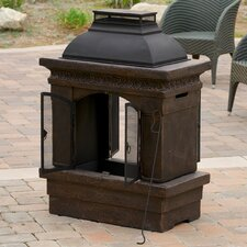 Barbados Outdoor Copper Stone Chiminea Fireplace