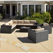Brooklyn 7 Piece Seating Group in Black with Cushions