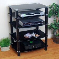 Everest Multilevel Component Stand in Black w/ Black Shelves