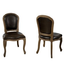 Teachupo Leather Weathered Wood Dining Chair (Set of 2) (Set of 2)