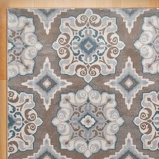 Natural Taupe & Teal Area Rug