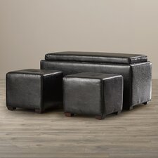3-Piece Storage Bench & Ottoman Set