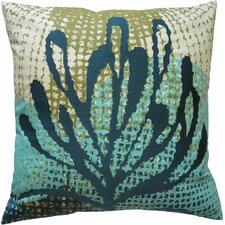 Ecco Embroidered Cotton Throw Pillow