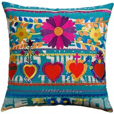 Mexico Hearts Print Cotton Throw Pillow
