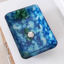 Hand Painted Watercolor Rectangle Flat Bottom Vessel Bathroom Sink