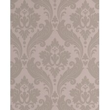 "Kelly Hoppen Style 33' x 20"" Damask Flocked Wallpaper"