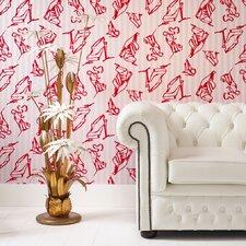 """Barbara Hulanicki Flock 33' x 20.5"""" Flocked Wallpaper"""