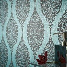 "Luna 33' x 20"" Damask Embossed Wallpaper"